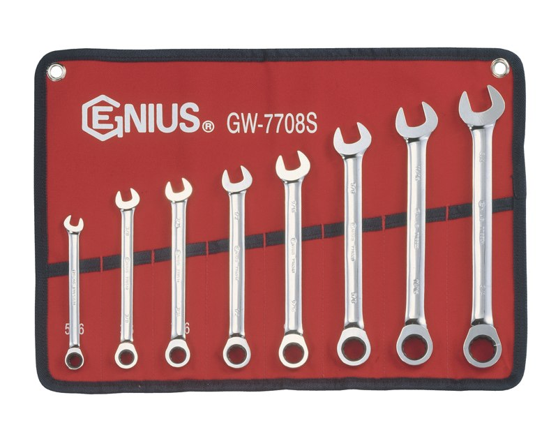 8 Piece SAE Combination Ratcheting Wrench Set GW-7708S