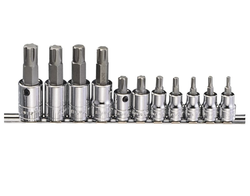 "11 Piece 3/8"" & 1/2"" Dr. Surface (Ribe) Bit Socket Set BS-3411S"