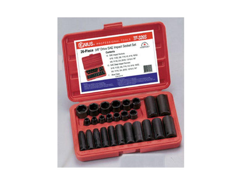 "Genius Tools 26 Pc. 3/8"" Dr. SAE Impact Socket Set TF-326S"
