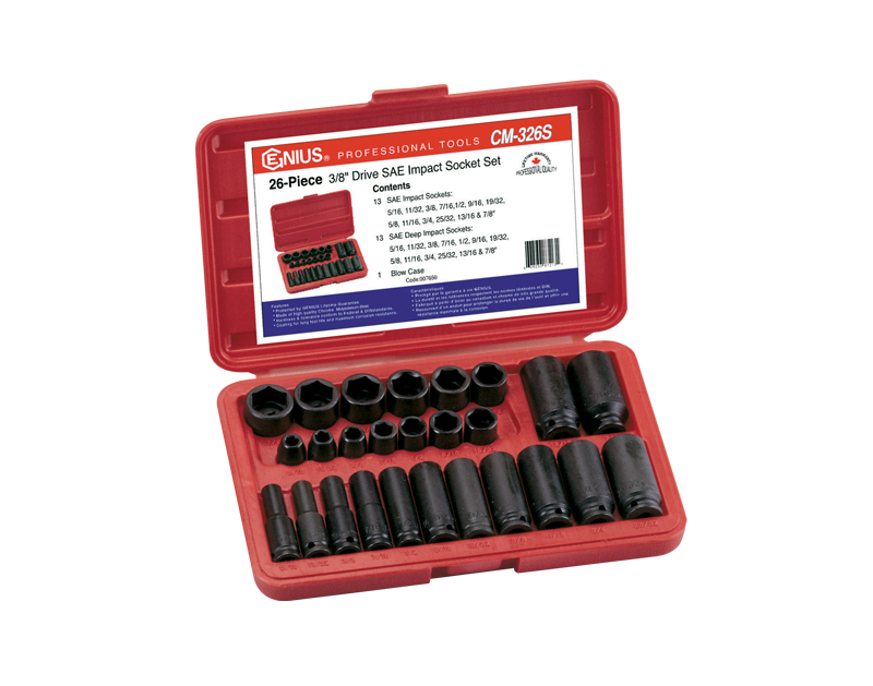 "Genius Tools 26 Pc. 3/8"" Dr. SAE Impact Socket Set CM-326S"