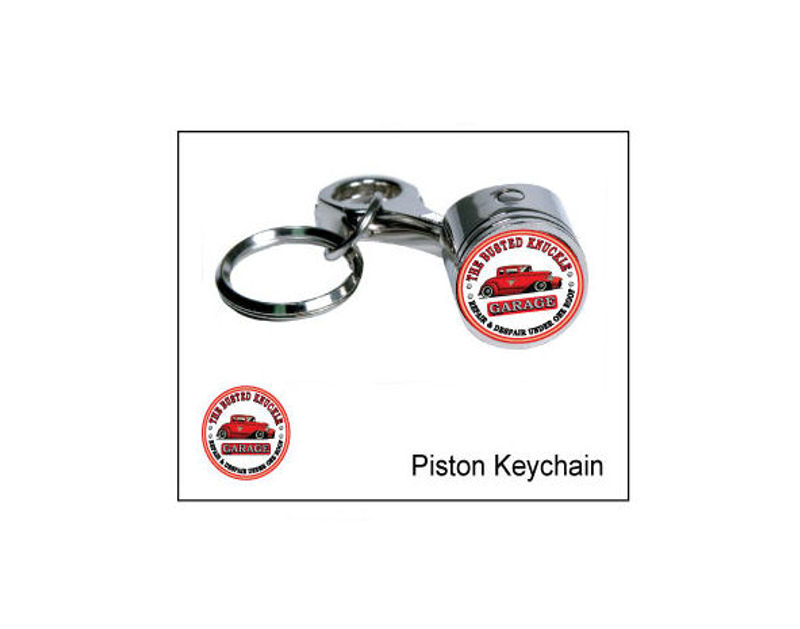Busted Knuckle Hotrod Logo Piston Key Ring BKG-MH-1402