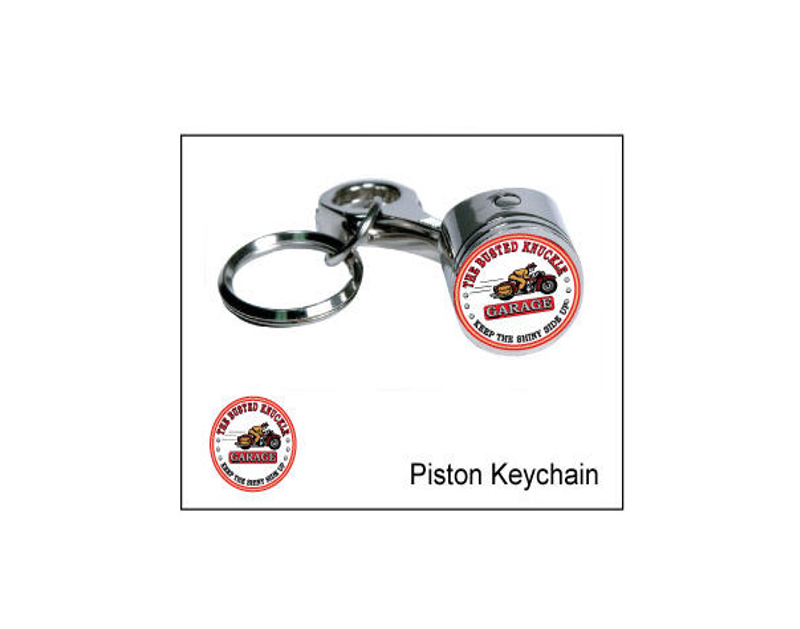 Busted Knuckle Vintage Motorcycle Logo Piston Key Ring BKG-MH-1403