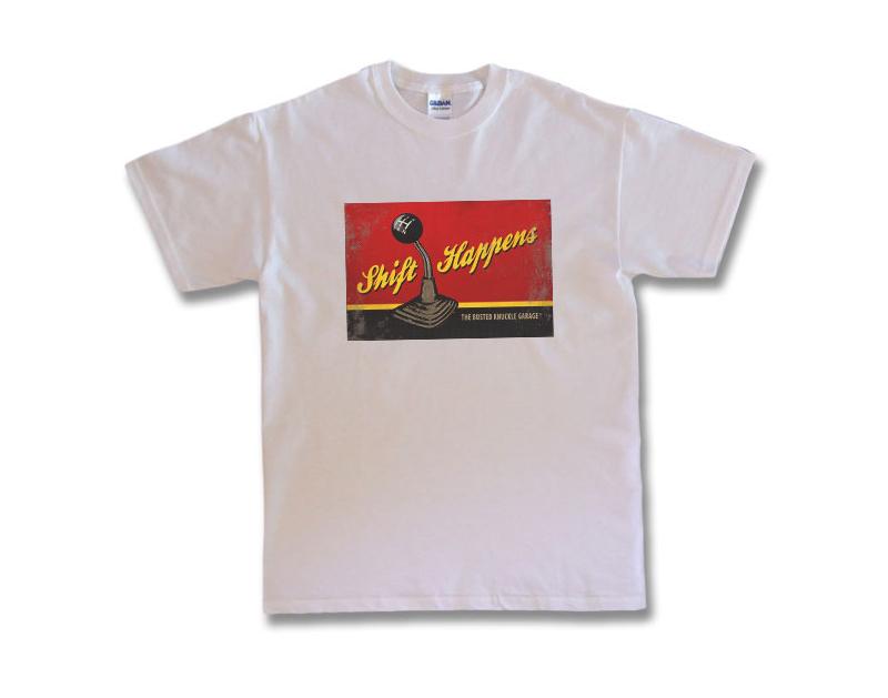"""Busted Knuckle """"Shift Happens"""" T-Shirt BKG-540-SHFTR"""