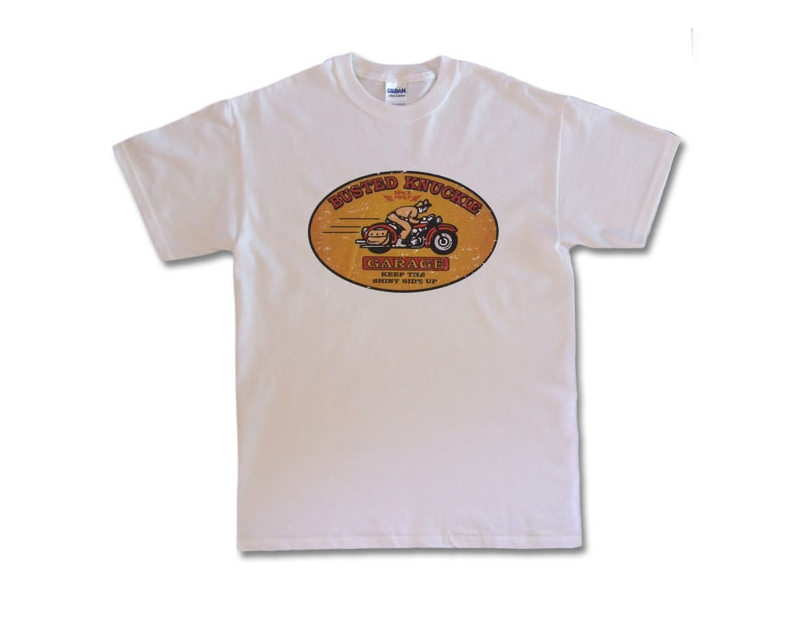 "Busted Knuckle Motorcycle ""Shiny Side Up"" T-Shirt BKG-RR-540"