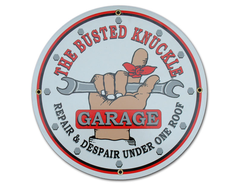 Busted Knuckle BKG Round Personal Shop Sign BKG-20