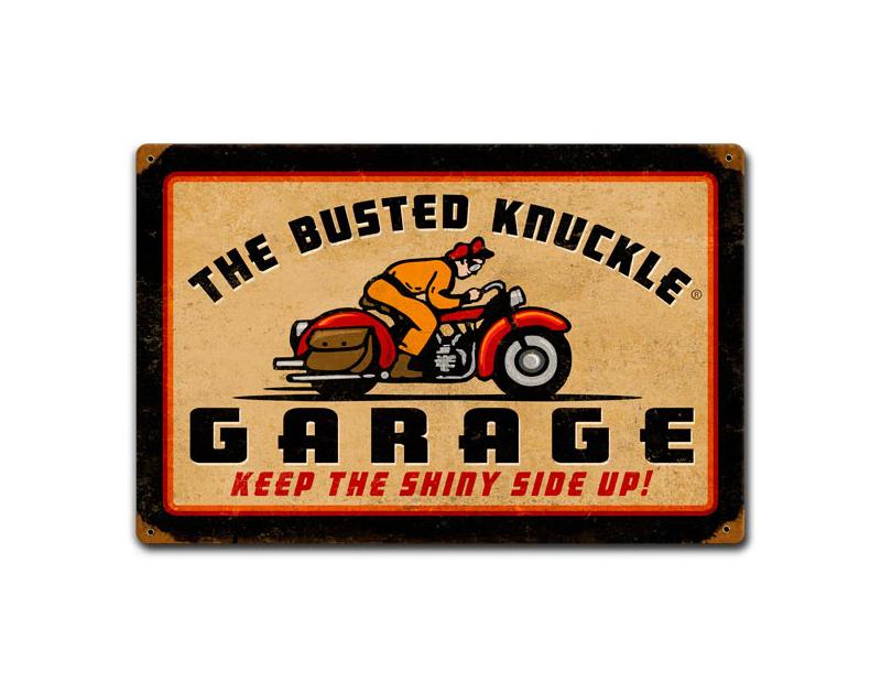 Busted Knuckle Vintage Motorcycle Shop Metal Garage Sign BKG-97