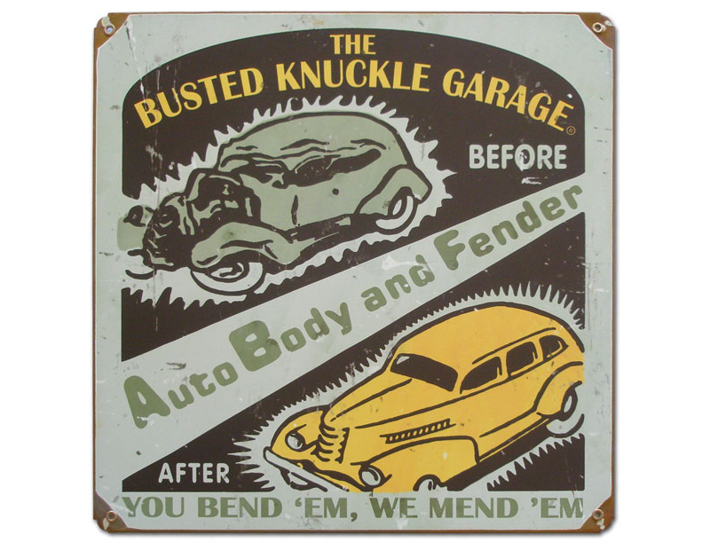 Busted Knuckle Auto Body Repair Garage Sign BKG-146