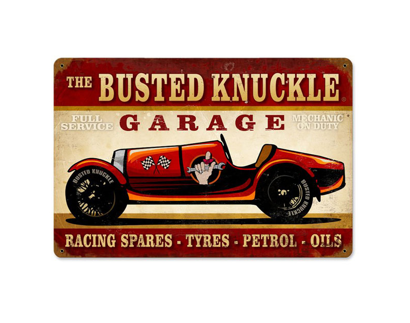 Busted Knuckle BKG Vintage Race Car Sign BKG-172-VRC