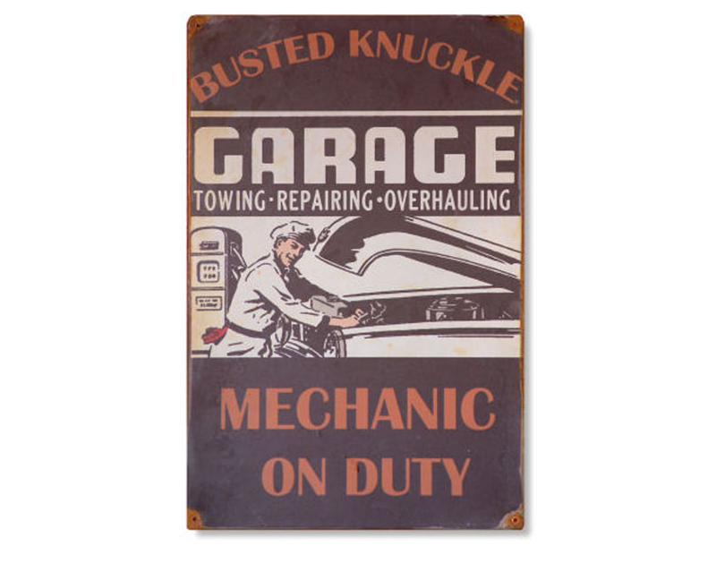 Busted Knuckle Mechanic On Duty Metal Garage Sign BKG-95