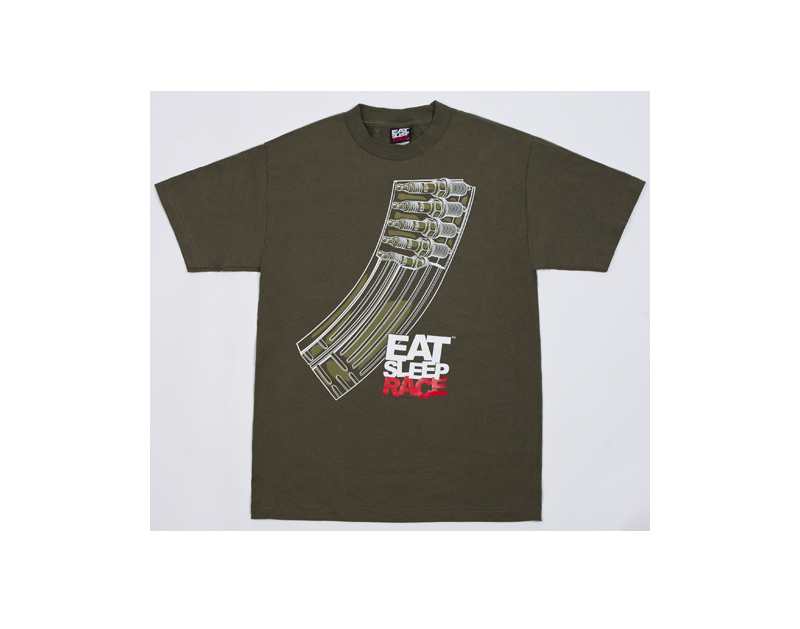 Eat Sleep Race Banana Clip T-Shirt (Olive)
