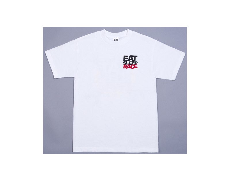 Eat Sleep Race Champion Crest T-Shirt (White)