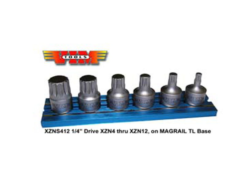 "VIM 1/4"" Stubby Triple Square Bit Set Mag Rail VMXZNS412"