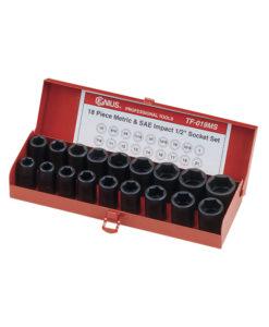 "Genius Tools 18 Pc. 1/2"" Dr. Metric & SAE Impact Set TF-019MS"