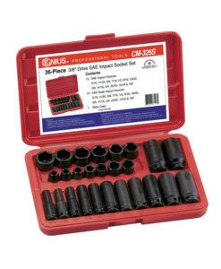 """Genius Tools 26 Pc. 3/8"""" Dr. SAE Impact Socket Set CM-326S"""